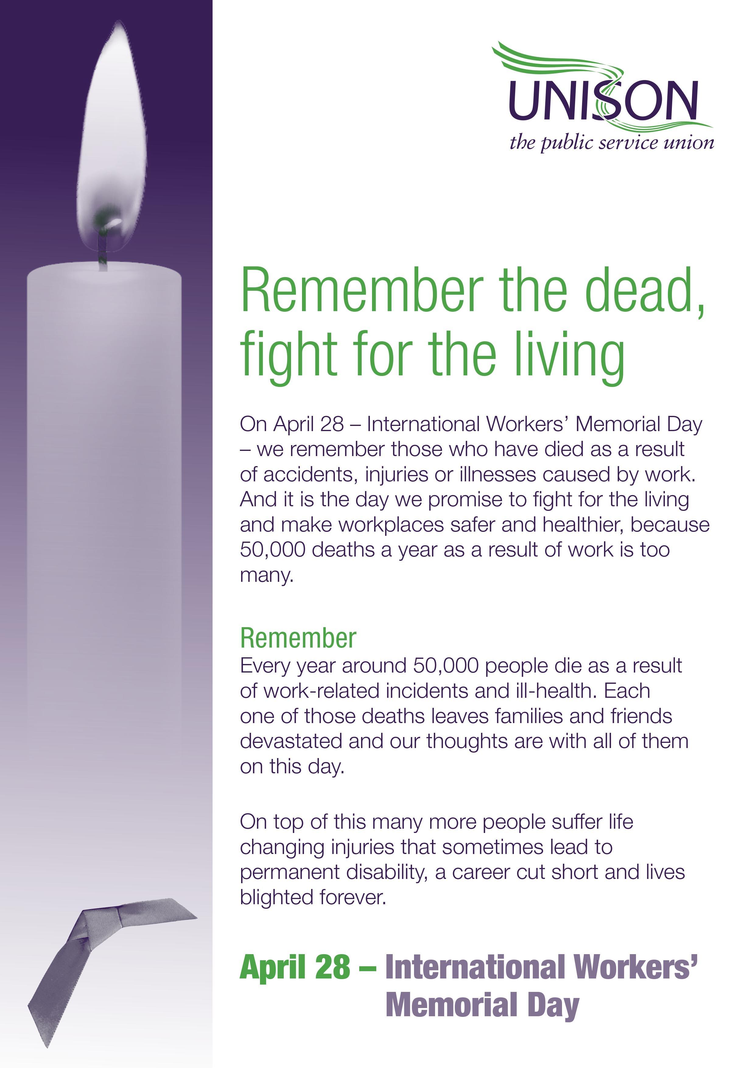 International Workers Memorial Day Leaflet Unison Shop
