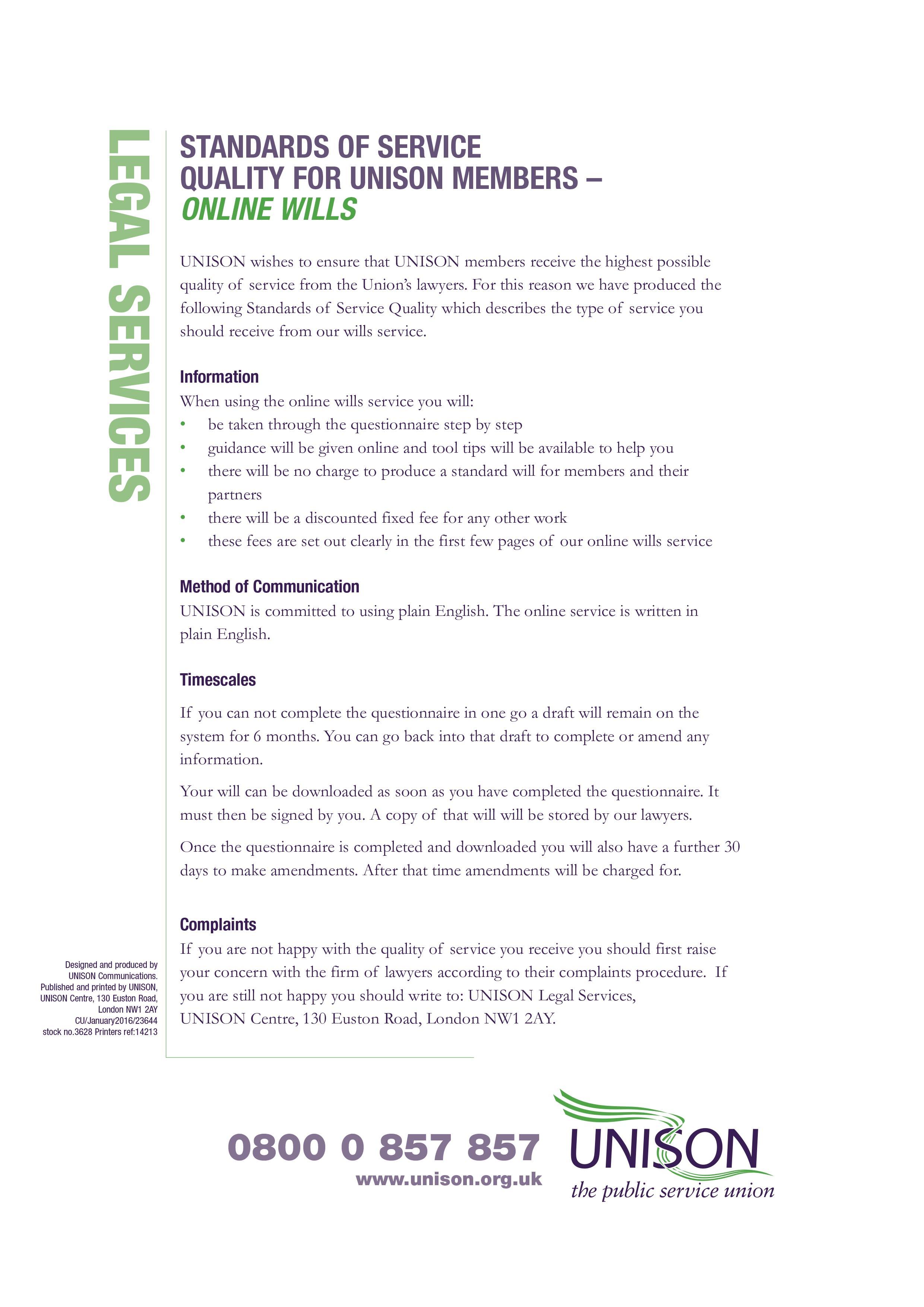 Unison wills writing service