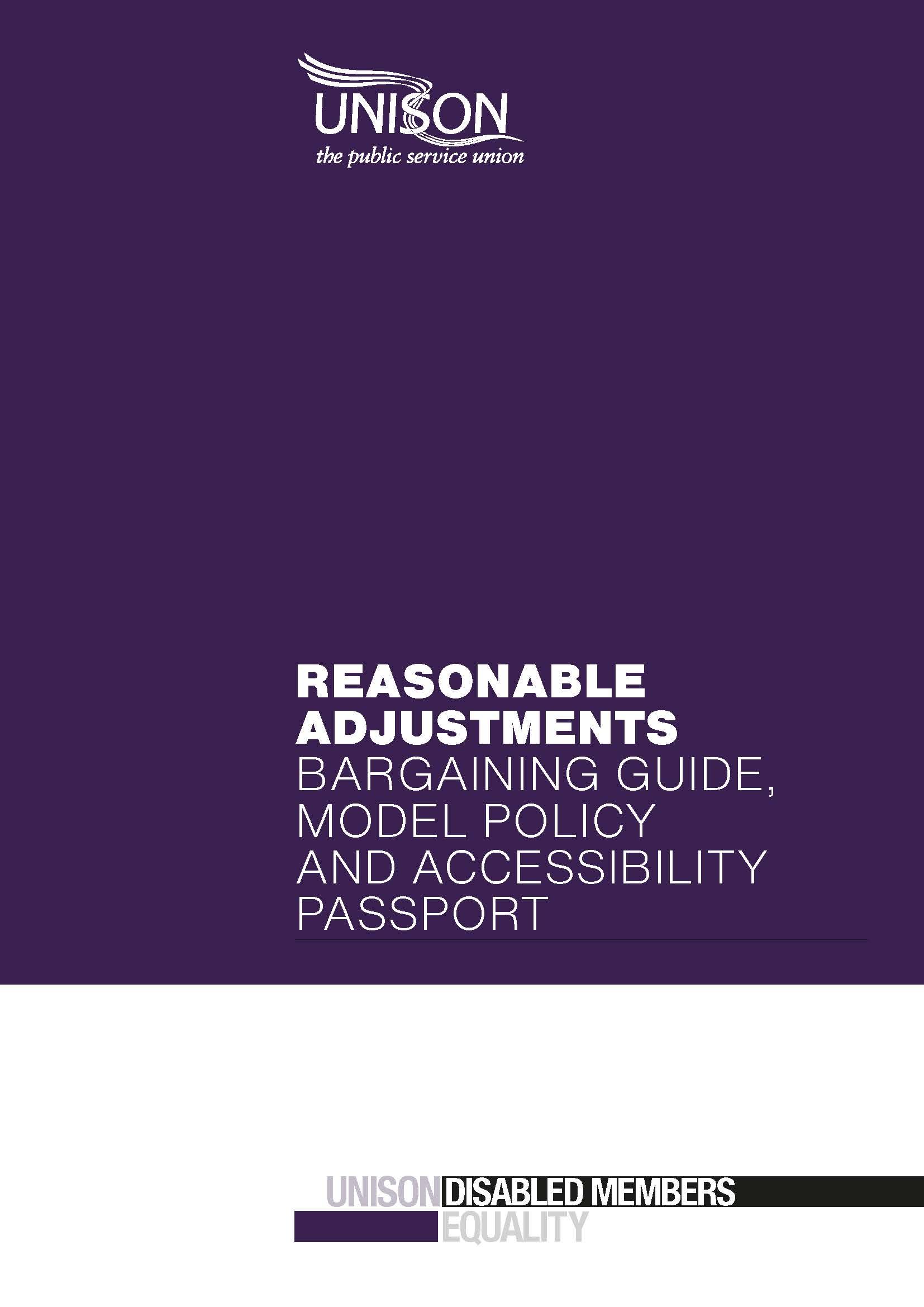 Reasonable Adjustments  U2013 Bargaining Guide  Model Policy  U0026 Accessibility Passport  U2013 Unison Shop